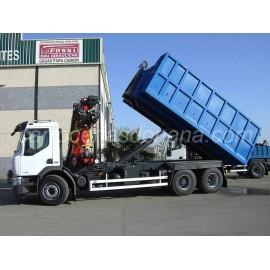 Camion Volquete con Grua Fassi y caja alta